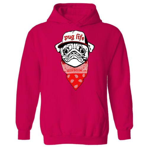 Womens Pug Life Dog Puppy Bandana Hip Hop Funny Pullover Hoodie NEW UK 12-20