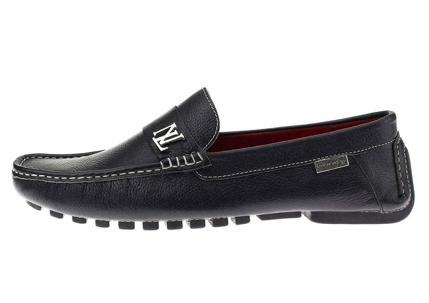 Natazzi Mens Air Grant Canoe Leather shoes Original Slip-On Driving Loafer