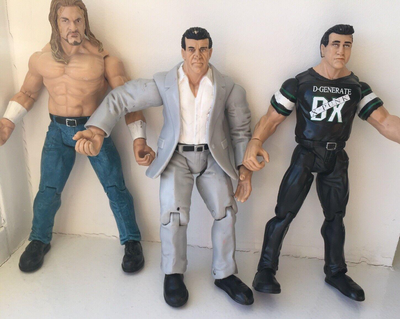 3 WWE Titan Figures Tron Live Figures Titan Vince & Shane McMahon & HHH Jakks 1999 Rare a5d9e5