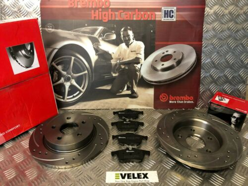 BREMBO Trasero Perforado Ranurado Discos /& Pastillas /& Ford Focus 2.0 2.5 St MK2//3 2006-2018