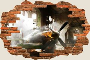 3D-Hole-in-Wall-Army-Planes-Crash-Landing-View-Wall-Stickers-Wallpaper-Mural-926