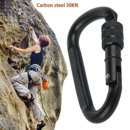 NEW Climbing Carabiner BLACK Heavy Duty clip in and Lockable One hand operation