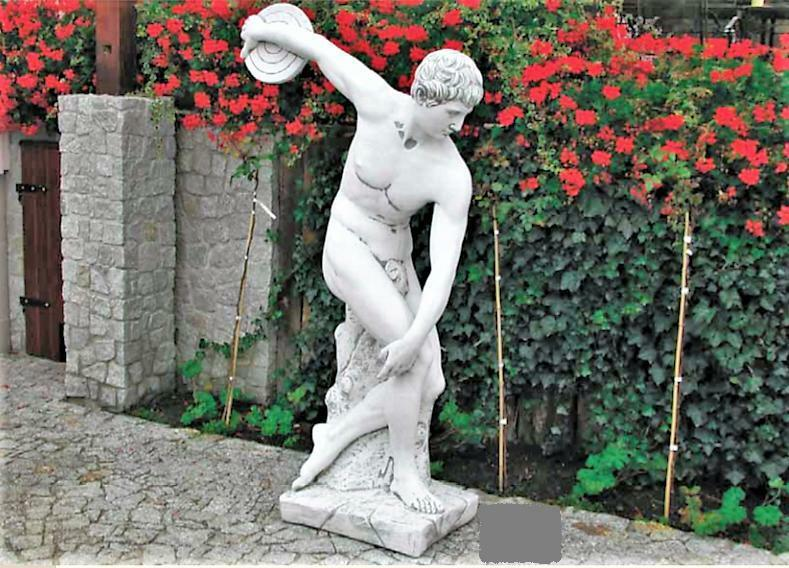 Lebensgroße Gartenfigur Diskobolos Griechischer Diskuswerfer Steinfigur Steinfigur Steinfigur Weiß 64fe0f