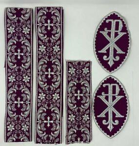 Plata-Cojos-Encendido-Purpura-Vestment-Px-Cruz-Emblems-Banda-5-PC-Lote-Lote