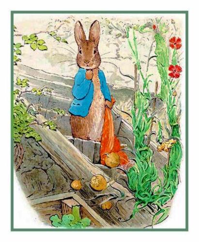 Beatrix Potter Peter Rabbit Handkerchief Counted Cross Stitch Chart Pattern