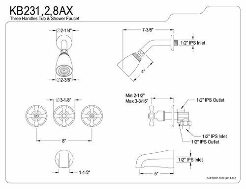 Brushed Nickel Kingston Brass KB238AX Tub and Shower Faucet