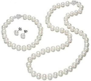 Snow White 7mm Natural Freshwater Pearl Necklace and Bracelet Set for Women