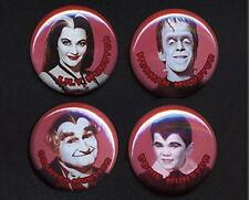 THE MUNSTERS Four badges buttons pin set - CLASSIC!