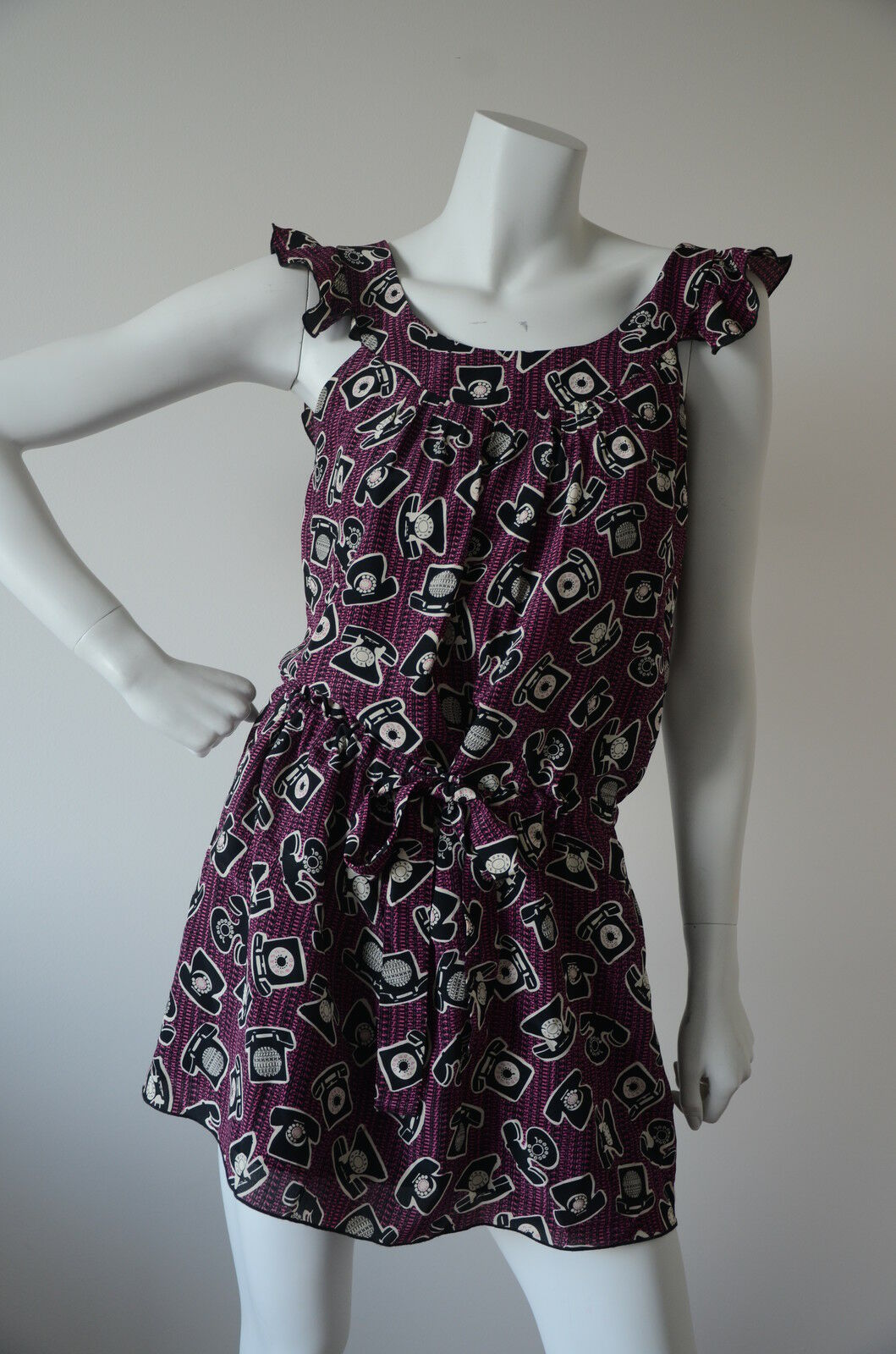 ANNA SUI lila SILK TELEPHONE SUMMER DRESS Größe 0 S XS USED EXCELLENT CONDITION