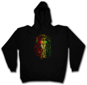 Bob Marley Jamaika Haile Lion con Löwe Rastafari Wailers cappuccio Felpa Reggae Selassie I Xgwx0A