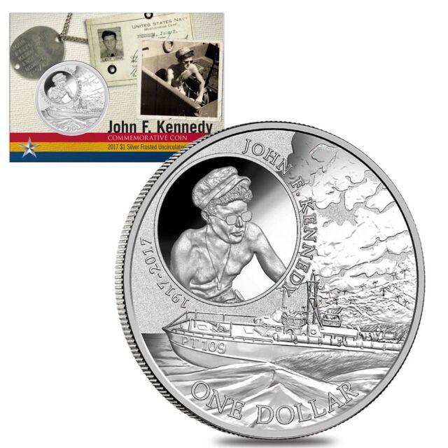 2017 1 oz Silver John F. Kennedy JFK Solomon Islands Coin 100th Anniv. JFK PT109