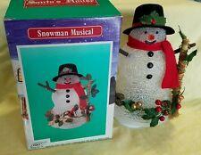"Vintage 1996 Acrylic Light Up Christmas Snowman Musical Wind Up 8"" Tall Santa"