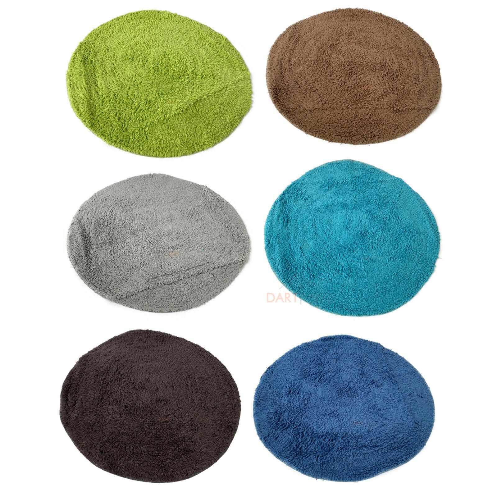 Round Coloured Cotton Tufted Absorbant Bathroom Shower Bath Rug Non-Slip Mats