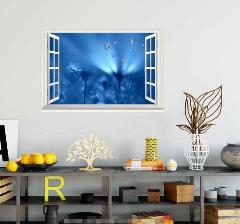 3D Blau Petals 637 Open Windows WallPaper Murals Wall Print Decal Deco AJ Summer