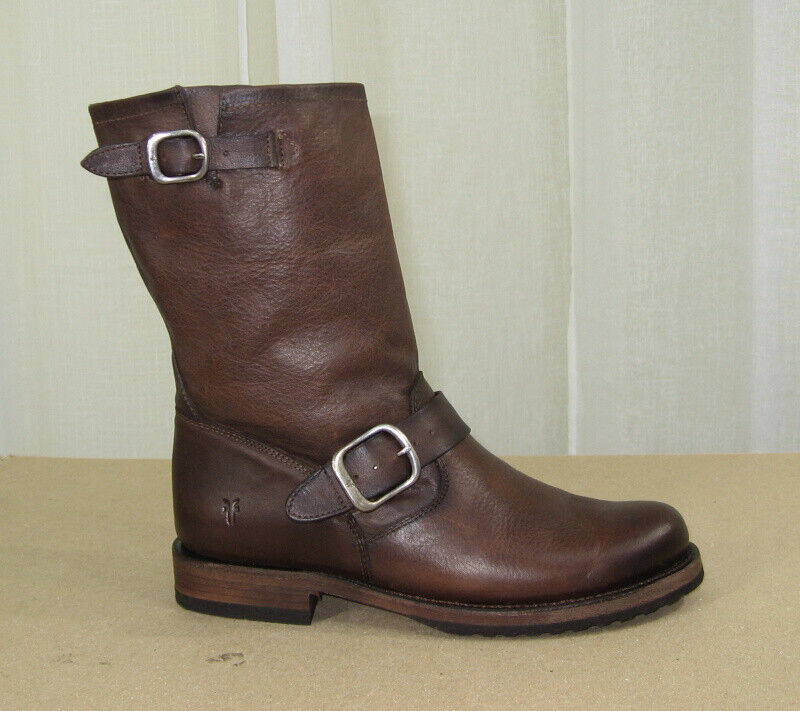 NEW FRYE Women Veronica Short STONE Leather Pull-On Boots Size US 7.5 Brown
