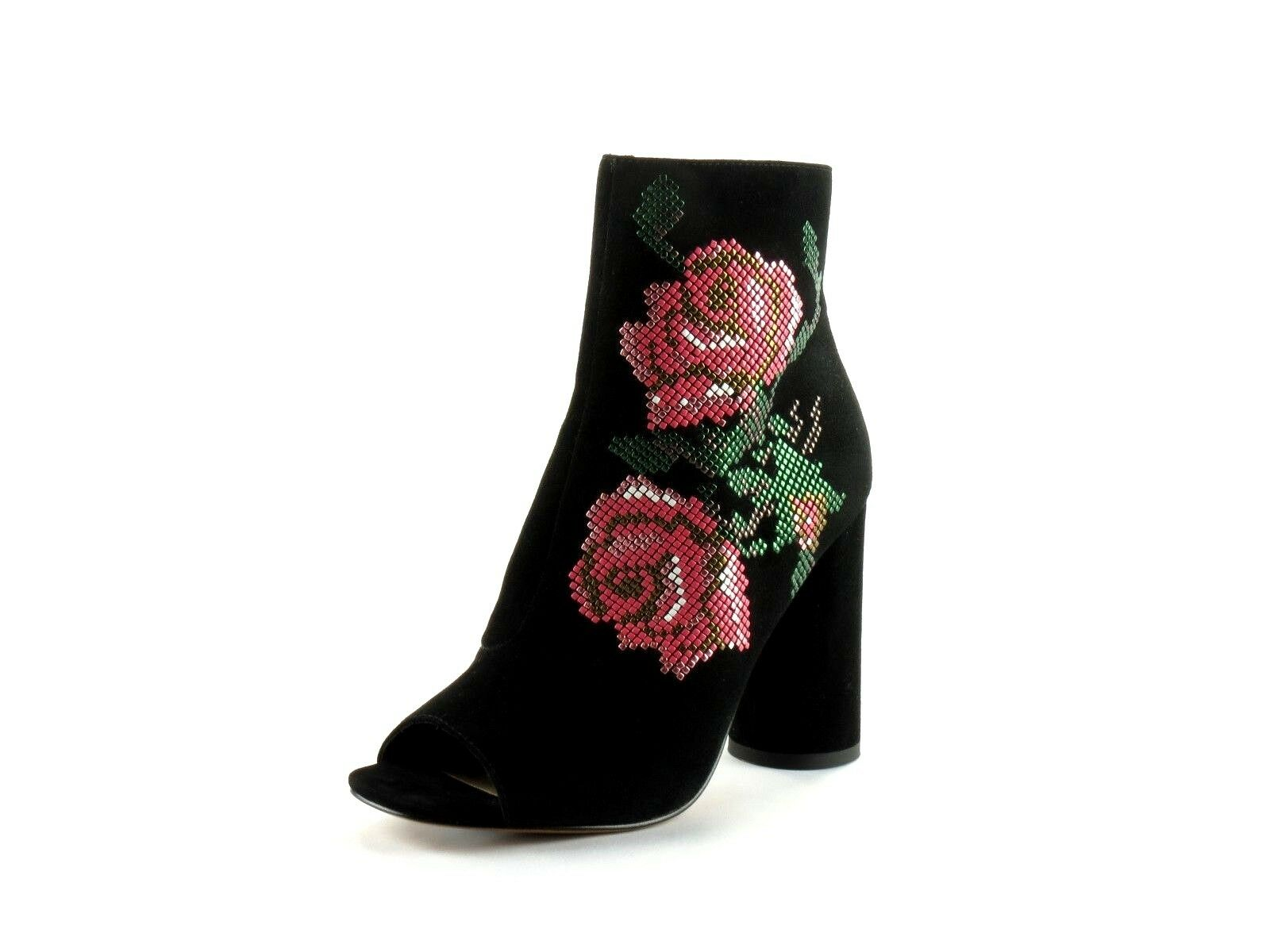 Donald J Pliner Barri Black Kid Suede and Floral Peep Toe Ankle Bootie Size 10