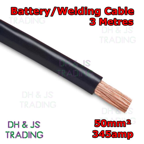 Flexible Marine Boat Automotive Wire 3m Black Battery Welding Cable 50mm² 345a