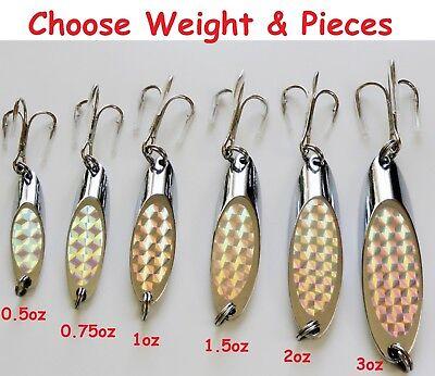 0.5oz 0.75oz 1oz 1.5oz 2oz Silver Laser Fishing Kast Spoon Casting Fish Lure lot