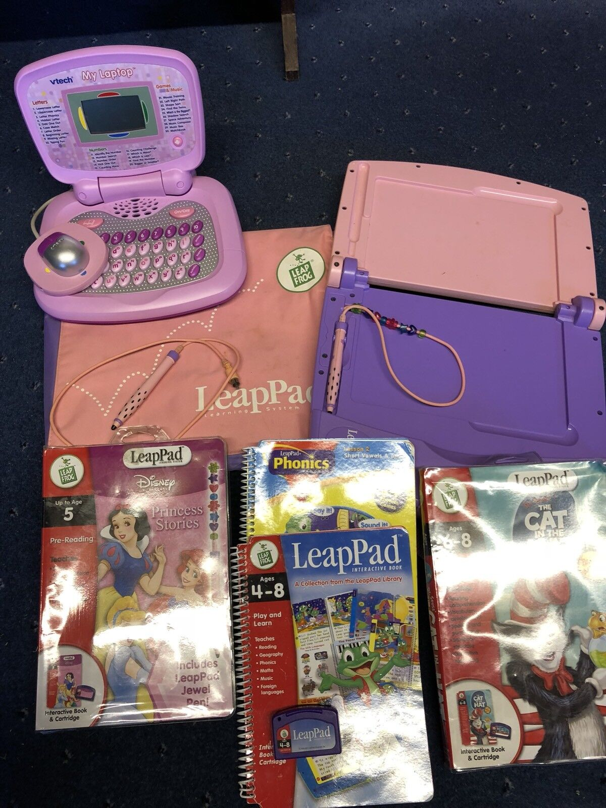 Leapfrog Leappad Learning System Princess Stories Cat In The Hat & Vtech Laptop