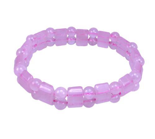 Rosenquarz rosa Armband Steinarmband Steg mit Barren fancy dehnbar 18 cm