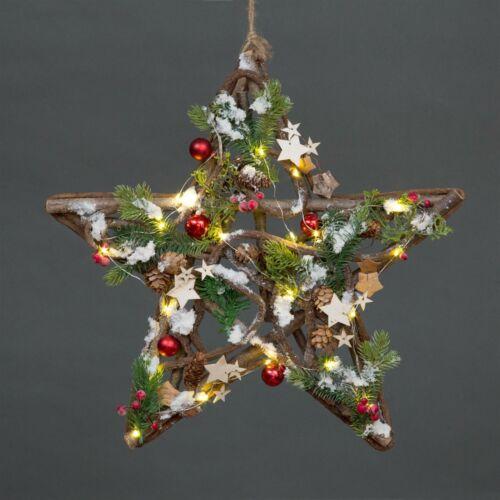 LED Lights Wooden Heart Wreath Star Christmas Decorative Showpiece Xmas Decor
