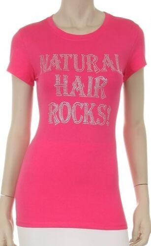 NATURAL HAIR ROCK Clear Rhinestone  Iron on Bling Shirt