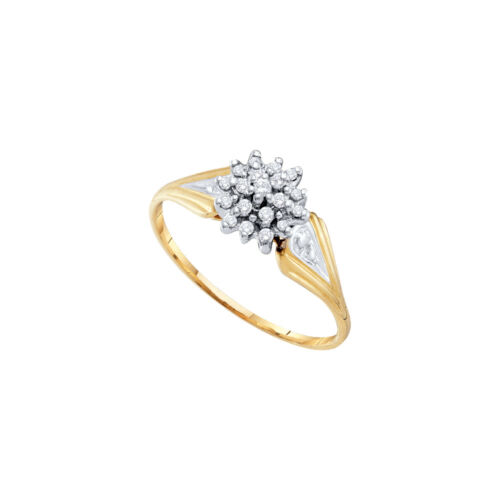 10kt Yellow Gold Womens Round Diamond Cluster Fashion Ring 1//10 Cttw