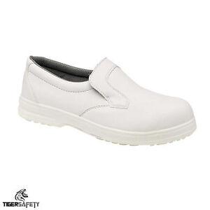 Das Bild Wird Geladen Toesavers P301 Herren Weiss Ohne Buegel Rutschfest  Schuhe
