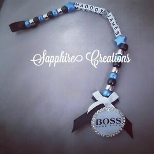 Qualsiasi Nome Personalizzato Manichino Clip Romany Bling Designer Baby Boys Blu BOSS