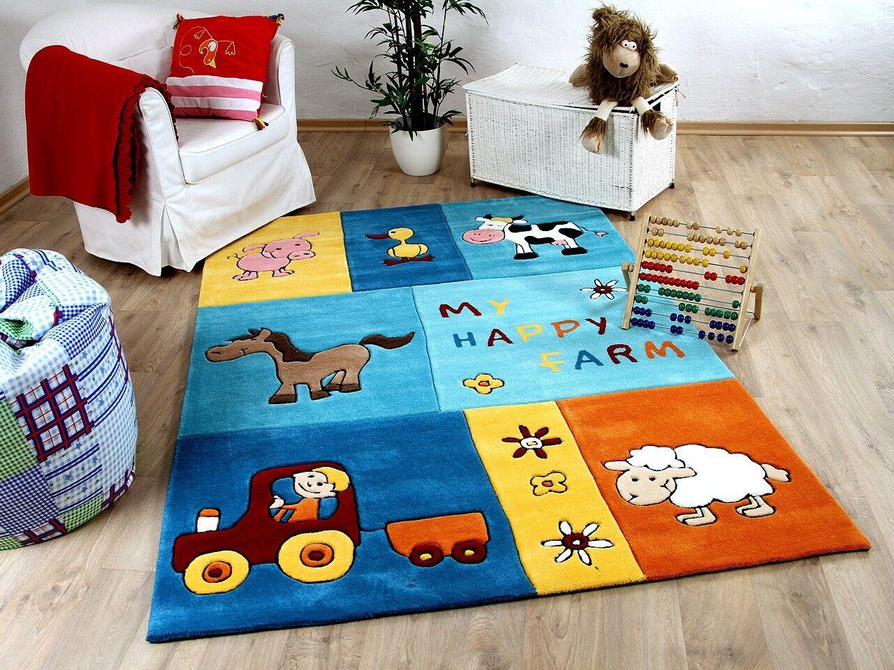 Lifestyle Kinderteppich My Happy Farm Blau     Sofort Lieferbar