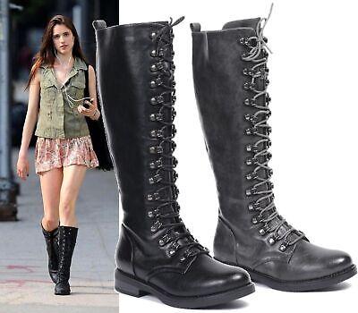Women/'s Ladies Knee High Faux Leather Mid Calf Block  Heel Zip Up Boots Shoes