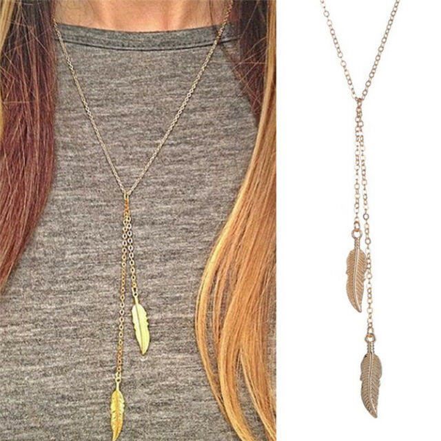 Women Lovely Long Chain Necklace Chic Leaf Feather Tassel Pendant Necklaces NL