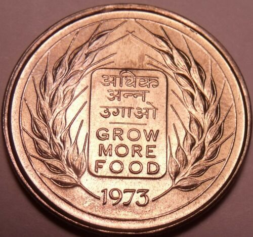 Gem Unc India 1973 50 Paise~Grow More Food~F.A.O Issue~Free Shipping
