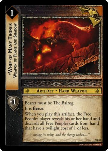 LoTR TCG BR Black Rider Whip Of Many Thongs Weapon of Flame and Shadow 12R80