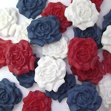 12 Dark Blu Rosso Bianco Mix Zucchero Rose Commestibili Pasta Di Zucchero Fiori Cake DECS