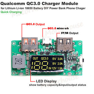 Details about QC3 0 USB Lithium Li-ion 18650 Battery Quick Charge Module  DIY Phone Power Bank