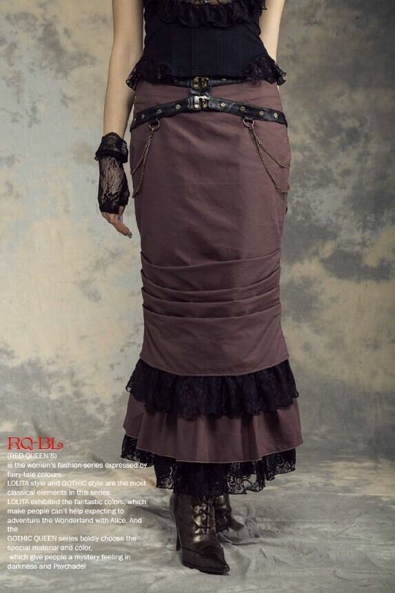 Rq-Bl Steampunk Pencil Skirt Brown Sz XL