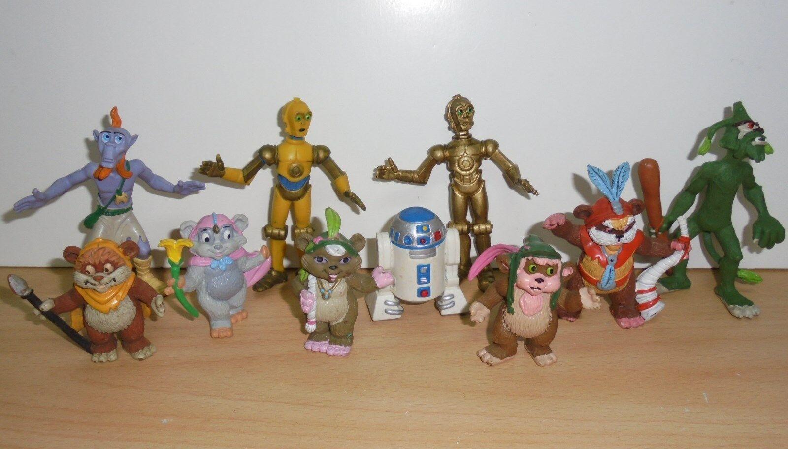 Complete Set 10 x Star Wars EWOKS + DROIDS PVC figure Comics Spain 86 Lucas Film