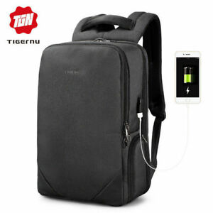 0b098b9cbc Image is loading 15-6-laptop-usb-charge-backpacks-waterproof-anti-