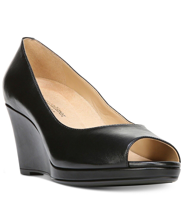 Bombas De Cuña De Mujer Naturalizer Olivia Puntera Abierta Zapatos Negro Cuero Tamaño 9.5 M