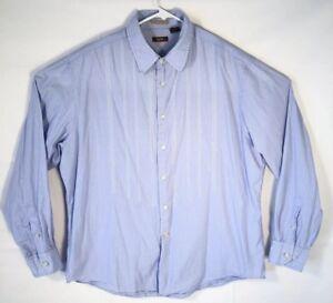 Nyne-Men-039-s-2XL-Button-up-Long-Sleeve-Blue-Striped-100-Cotton-Dress-Shirt