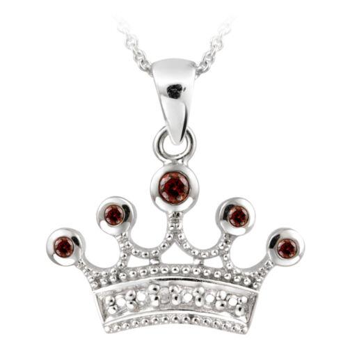 """18/"""" Argent 925 Grenat /& Diamant Accent Couronne Collier"""