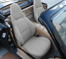 MAZDA MIATA 2001-2005 GRAY S.LEATHER CUSTOM MADE FIT FRONT SEAT COVER