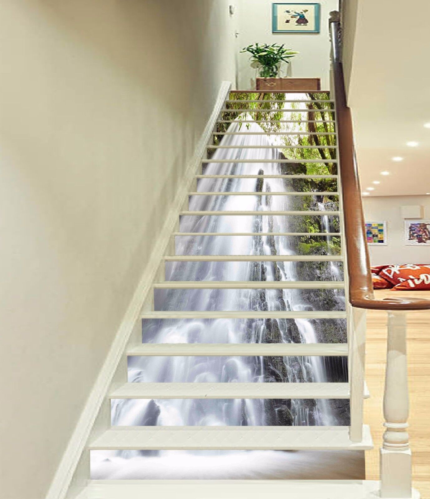 3D Clear Waterfall Stair Risers Decoration Photo Mural Vinyl Decal Wallpaper UK