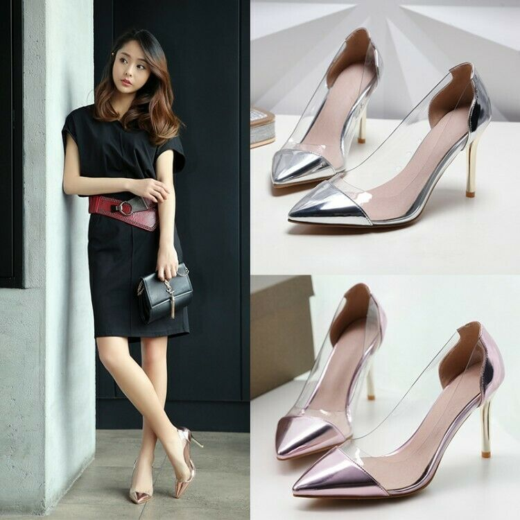 Fashion Women's Transparent High Heels Pointed Toe Pumps Stiletto shoes US4.5-13