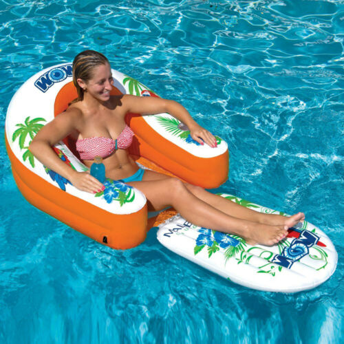 Malibu Lake Floaties 1 Person Water Lounger Pool River Inflatable Chair Floater