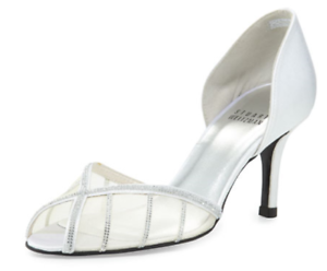 575-size-8-Stuart-Weitzman-Radiance-Silver-Peep-Toe-Hell-Sandals-Wedding-Shoes