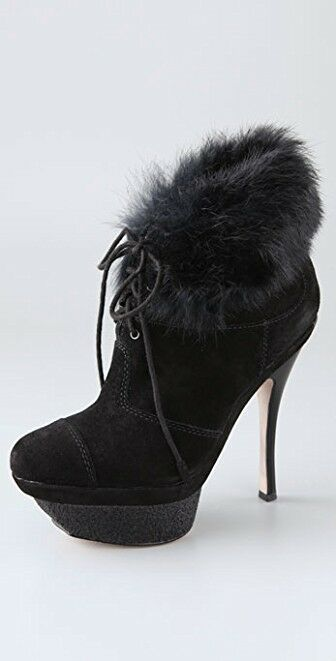 L.A.M.B. Pier Suede Booties with Rabbit Cuff NEW!!!!! SZ 10