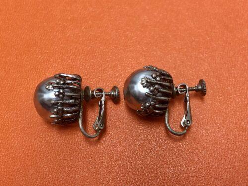 Miriam Haskell 1950's Silver Tone Pearl Earrings