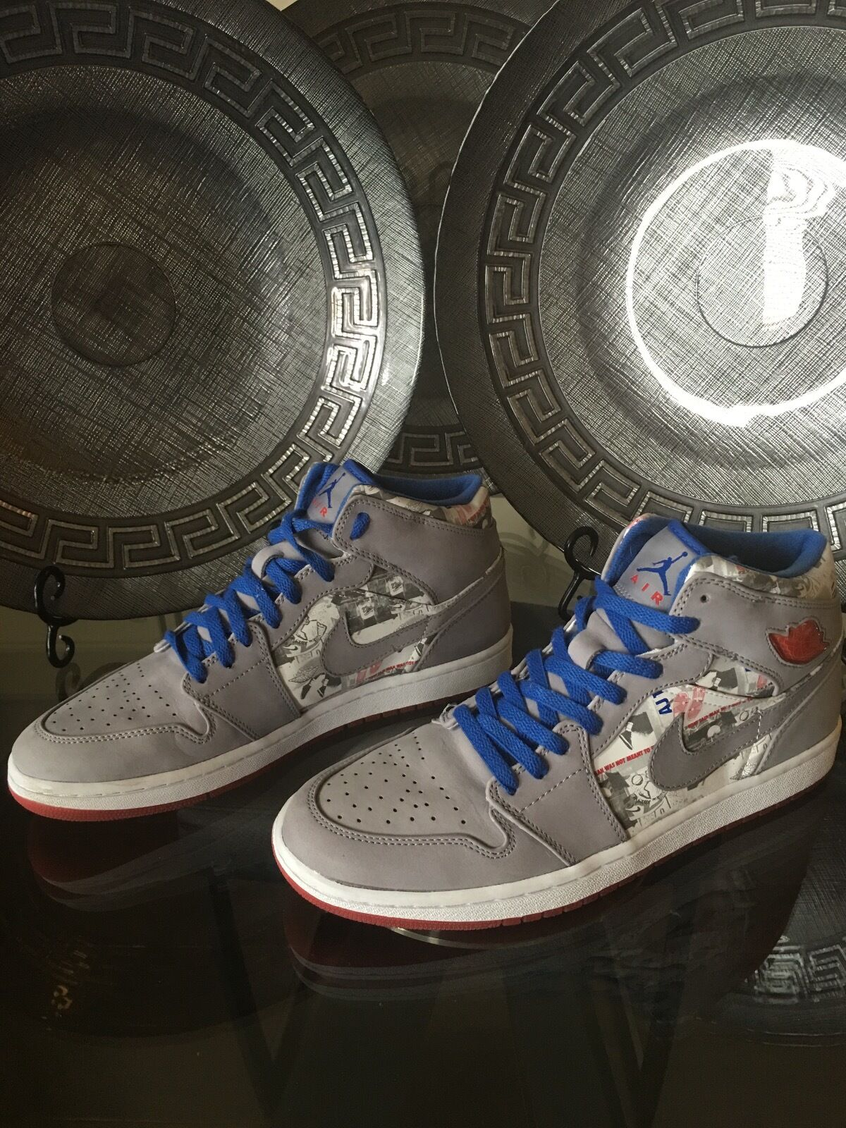 2006 Nike Air Jordan Retro1 Basketball shoes GrayBlue,RedWht 315794-041 Price reduction